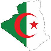 Country outline with the flag of Algeria
