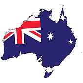 Country outline with the flag of Australia