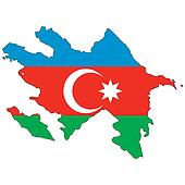 Country outline with the flag of Azerbaijan