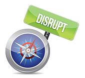 Disrupt on a compass symbolizing a new paradigm
