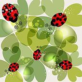 Transparent clover and ladybug background