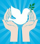 peace sign of hands holding dove
