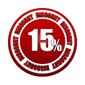 15 percentages discount 3d red circle label