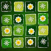 white flowers in squares over green old paper background