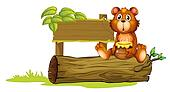 A bear sitting on a trunk