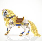 Horse with a golden mane in harness