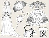 Vintage fashion set. vector