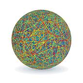Isolated Multicolored Yarn Ball. Vector Image