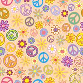 Seamless Flowers and Peace Signs