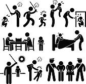 Family Abuse Children Pictogram