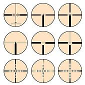Cross hair and target set. Vector illustration.