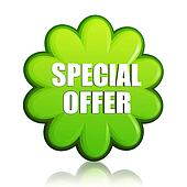 spring special offer green flower label