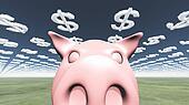 Pig and dollar symbol clouds