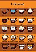 Coffee menu table