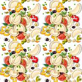 Seamless pattern of dish dumplings