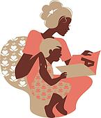 Beautiful silhouette  of mother and baby reading book. Card of H