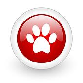 animal footprint red circle glossy web icon on white background