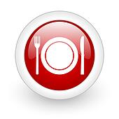 food red circle glossy web icon on white background