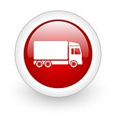 delivery red circle glossy web icon on white background