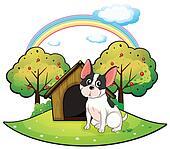 A dog beside a dog house