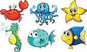 The different sea creatures
