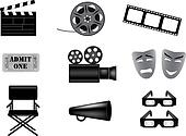 movie vector icons set