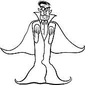 dracula vampire cartoon for coloring book