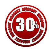 30 percentages discount 3d red circle label