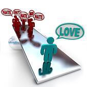 Love Beats Hate on a Balance