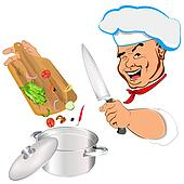 Funny Chef and vegetable