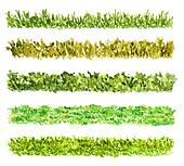 Five Grass Border Pieces Watercolor Hand Drawn and Painted