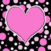 Pink and Black Polka Dot Torn Background for your message or invitation with copy-space in shape of heart