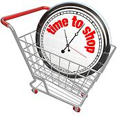Time to Shop Clock in Shopping Cart Buying Browsing