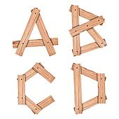 alphabet Letter A,B,C,D from wood board with clipping path