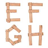 alphabet Letter E,F,G,H from wood board with clipping path