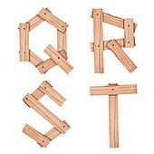 alphabet Letter Q,R,S,T from wood board with clipping path