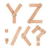 alphabet Letter Y,Z,;,/,<,? from wood board with clipping path