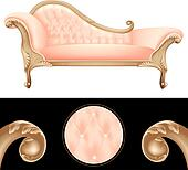 Pink and golden vintage sofa