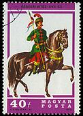 HUNGARY - CIRCA 1978: A stamp printed by Hungary, shows Hussar Lancer, circa 1978