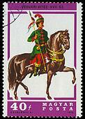 HUNGARY - CIRCA 1978: A stamp printed by Hungary, shows Hussar Lancer, circa 1978