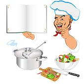 Funny Chef and menu food