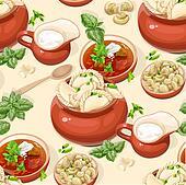 Seamless pattern of dumplings.