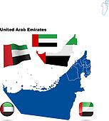 United Arab Emirates vector set. Detailed country shape with reg