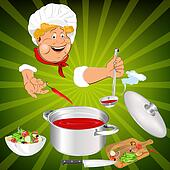 Funny Chef and fresh food