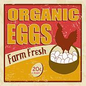 Organic eggs vintage poster