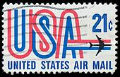 Old airmail postage stamp from USA