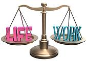 Balance Life Work harmony on scales