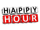 3D Happy Hour Button Click Here Block Text