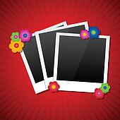 Photo frames with colored flowers