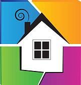 House and broken wall logo